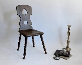 Antique Tyrolean Chair. Baroque Peasant Chair. Brettstuhl. Swiss Mountain Chair