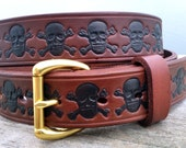 Brown Leather Belt with Skull and Crossbone design, Tooled Leather Belt, Men's Leather Belt