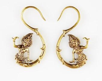 "Brass Earrings - ""Antique"" Earrings - Tribal Jewelry - Spiral - Hoop Earrings - Handmade ""Balinese Dancer Hook"" Tribal Boho Hippy Earrings"