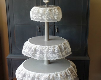 Vintage Tiered Table, Wood, Hand Painted, Distressed, Wedding, Home Decor, Cupcake Stand, Upcycled