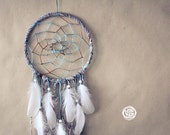 Dream Catcher - Winter in the Woods - With Brown Frame and Textiles, Brown-Turquoise Web and White Feathers - Home Decor, Nursery Mobile