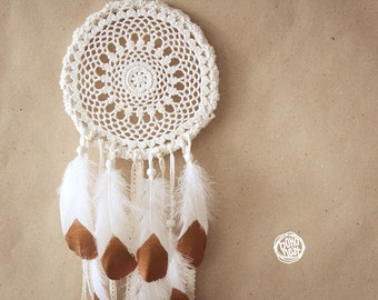 Dream Catcher - With White Mandala Crochet, Hand Painted Swan Feathers and White Laces - Boho Home Decor, Nursery Mobile