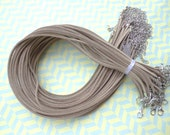 20pcs 3mm 16-18inch adjustable khaki  suede leather necklace cord with white k lobster clasp
