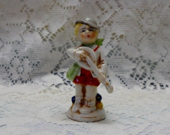 Boy Figurine Made in Germany Playing Lute with knapsack Miniature Vintage Collectible Porcelain Hand Painted