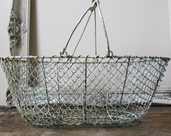 Rusty farmhouse basket large metal chain link style carrier with handle distressed garden and home decor anita spero design