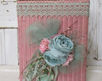 Pink wicker laundry hamper chippy original paint shabby cottage chic blanket storage embellished with roses home decor anita spero design