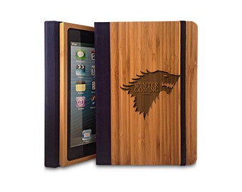 Winter is Coming - Bamboo iPad Air 2 Bookcase, Wood iPad Air 2 Case, Wood iPad 5 Bookcase
