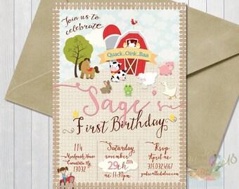 Barnyard 2 Birthday Invitation-Farm Animals-Pig, Cow -Girl or Boy-5x7 or 4x6 Inches-Farm Invites