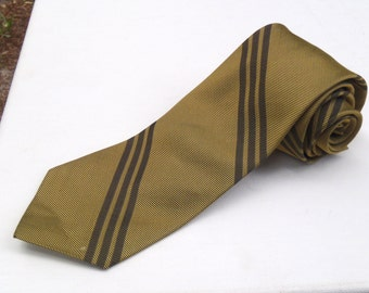 Vintage 1960s Skinny Gold and Black Rep Striped Tie