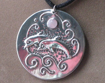 Dolphin Pendant Necklace Handmade in Silver Pewter with Pink Rose Quartz Gemstone