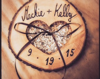 Personalized ring bearer pillow, cutomized ring bearer, wooden ring bearer, wedding ring bearer pillow, country ring bearer
