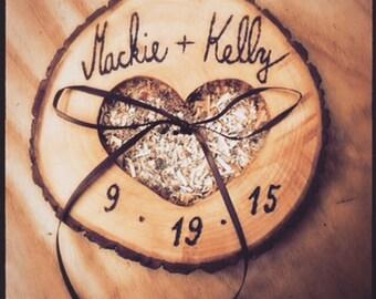 Ring bearer pillow rustic woooden heart wedding pillows
