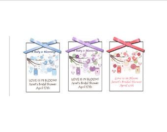 New Vintage Love Birds and mason jars Bridal shower seed packet favors - wedding favor, bridal shower favors, - set of 12