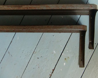 Pair of Vintage Industrial Metal Shelves - Retro