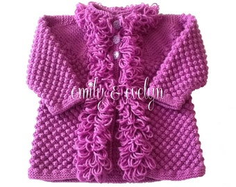 Baby girl loopy jacket. Plum baby sweater. Pink baby sweater. Hand knitted loopy cardigan. Baby knits.Other colours available.
