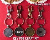NEW 100 Key Ring Kits w 1 inch Circle Pendant Trays - DIY - 25mm Circle Tray Settings, Ultra Clear Glass. Key Ring Loops, Lobster Swivels