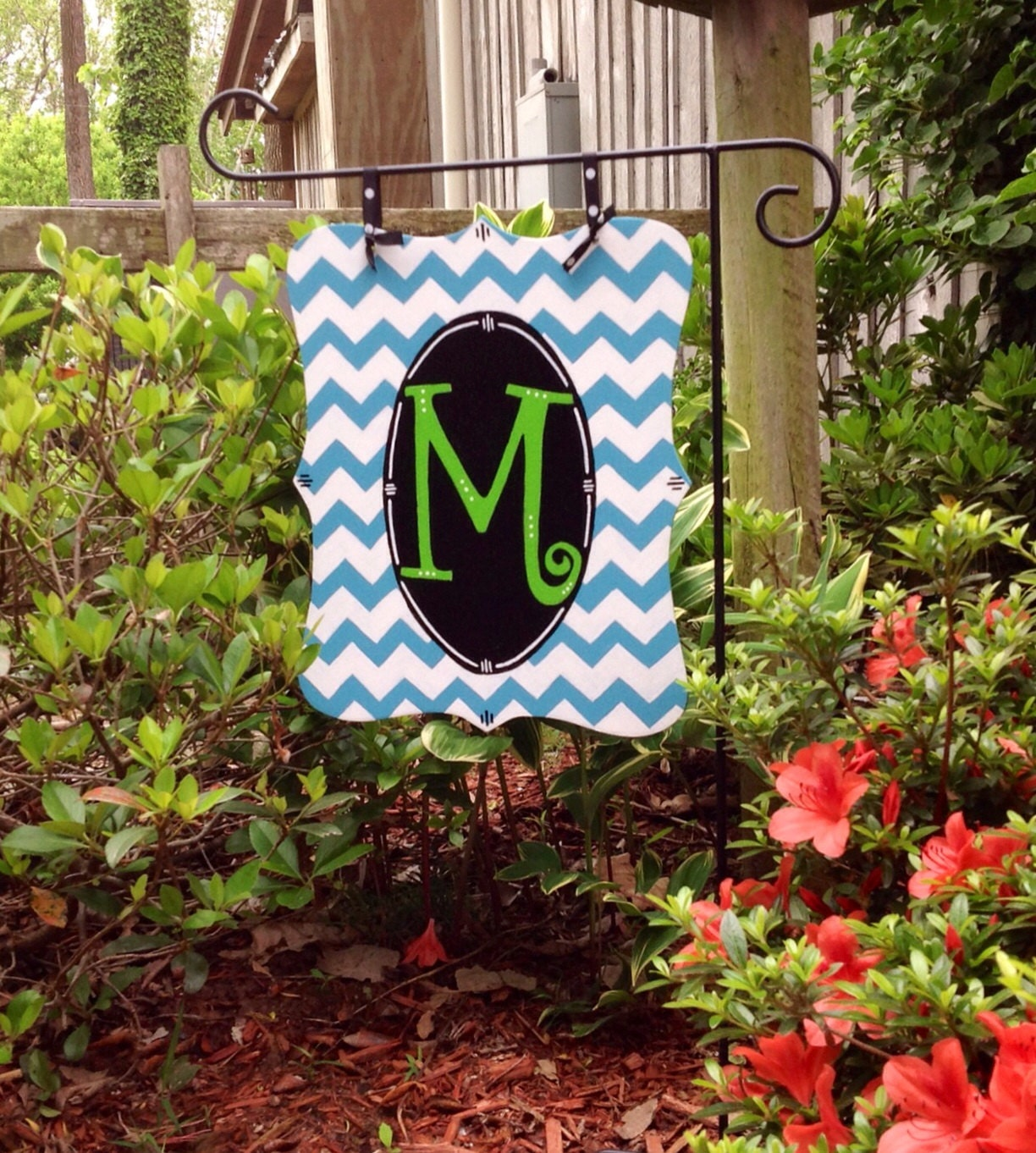 Personalized Garden Flag Monogrammed Wooden Flag By