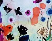 Original Watercolor Flowers Butterflies Original Painting Landscape Botanical Art Home Decor Blue Green Black Flowers Wall Art Flowers