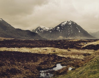 Mountain Art Print, Rustic Living Room Decor, Wall Art, Large, Scotland, Brown Wall Decor, Landscape Art Photography, Travel - Gaia
