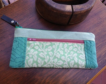 Minty Green Tapestry Zipper Wallet Purse