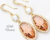 Peach Bridal Earrings Champagne Earrings Cubic Zirconia Teardrop Earrings Gold Earrings Bridesmaid Gift Wedding Jewelry Post Earrings CH40HC