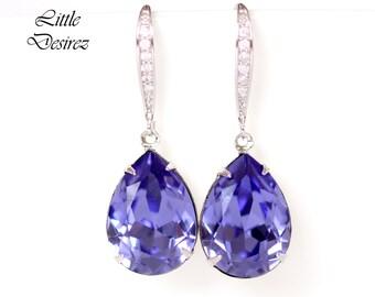 Purple Gold Earrings Tanzanite Earrings Purple Drop Earrings Swarovski Crystal Teardrop Lilac Lavender Bridesmaid Gift Bridal Earrings TZ31H