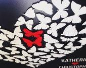 Custom wedding guest book alternative - 3D Wedding Butterfly guest book - wood rustic wedding guest book - Butterfly Heart - 55 Butterflies
