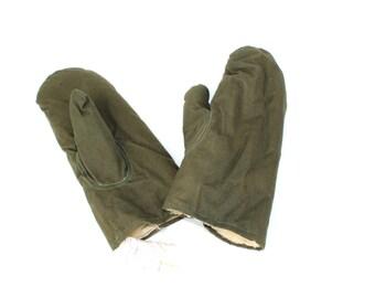 Soviet Army Mittens Gloves Genuine Sheep Skin Very Warm Soft Fur Unisex Gloves Winter Gloves Winter Mittens, Khaki Mittens, Khaki Gloves