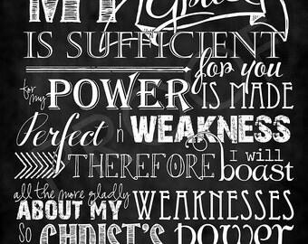 Scripture Art - 2 Corinthians 12:9 Chalkboard Style