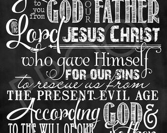 Scripture Art - Galatians 1:3-4 ~ Chalkboard Style