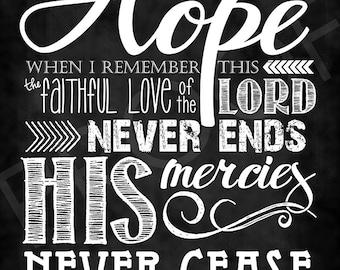 Scripture Art - Lamentations 3:21-22 ~ Chalkboard Style