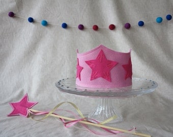 You Are A Star Birthday Crown and Wand Set - Pink