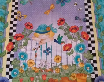 Youth quilt/nap quilt/A Garden of fun/Birthday Gift/Minky Backing/Panel