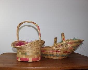 3 Vintage Wicker Easter Baskets