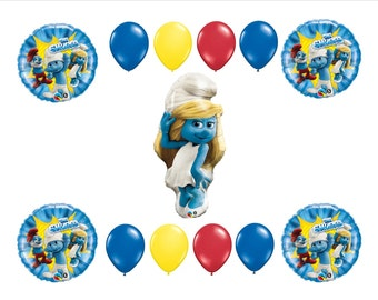 Smurfette birthday party supplies balloons 13 Piece Birthday Balloon Set Smurf Birthday Party Balloons Decor