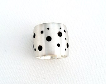 Polka Dot Pattern Wide Sterling Silver Band, Modern and Simple Design Jewelry, Oxidized and Brush finished silver ring, Handmade Silver Ring
