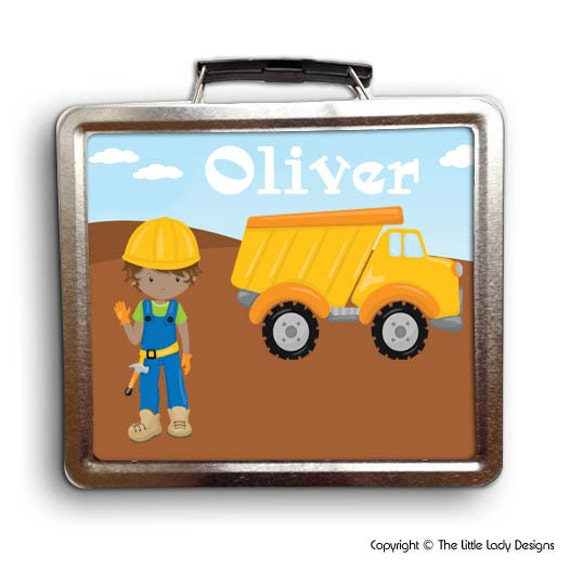 Construction Worker Boy Lunch Box - Personalized Gift - Dump Truck Tin Metal Lunch Box (Character Options Available!)