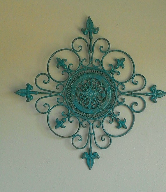 shabby chic metal wall art teal aqua brown scroll decor iron. Black Bedroom Furniture Sets. Home Design Ideas