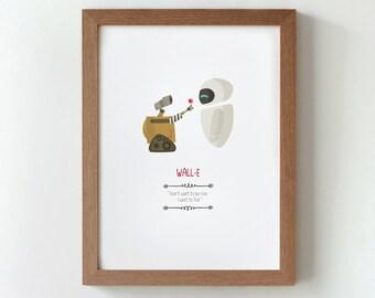illustration, print, Wall-e, Tutticonfetti,  Wall art, Art decor, Hanging wall, Printed art, Decor home, Gift idea, Andrew Stanton film