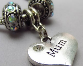 Mum European Heart Charm Pendant And Birthstone Beads For Large Hole Charm Bracelets - Gift Idea For Moms