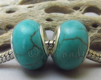 Turquoise Gemstone European Beads - Large Hole Charms For All European Charm Bracelets - 2PCs Or 5PCs
