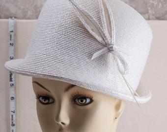 Adolfo II white ladies sculpted hat. 1960s.
