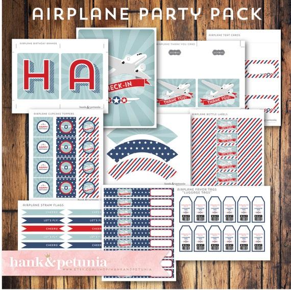 Airplane Birthday Invitation Diy Printable By Vindee On Etsy: Printable DIY Airplane Party Package
