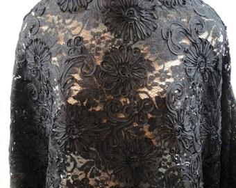 Lace, Black Ribbon Lace, Black Lace Fabric, Black Lace, Dress Fabric (C2)