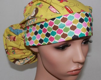 Ponytail Surgical Scrub Hat. SpottyOwls With Checked Band