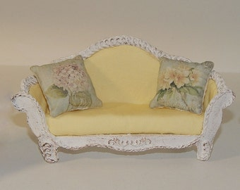 Shabby sofa style miniature dollhouse 1:12 scale