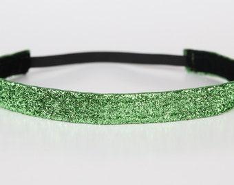 "Lime Green Sparkle Non-Slip Headband 3/4"", Running Headband, Dance Headband, Cheerleading Headband, Fitness Headband, Princess Half Marathon"