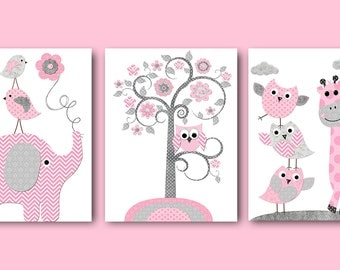 Pink Gray Baby Shower Decor Elephant Giraffe Nursery Decor Baby Girl Nursery Art Print Kids Art Kids Room Decor Playroom Decor set of 3