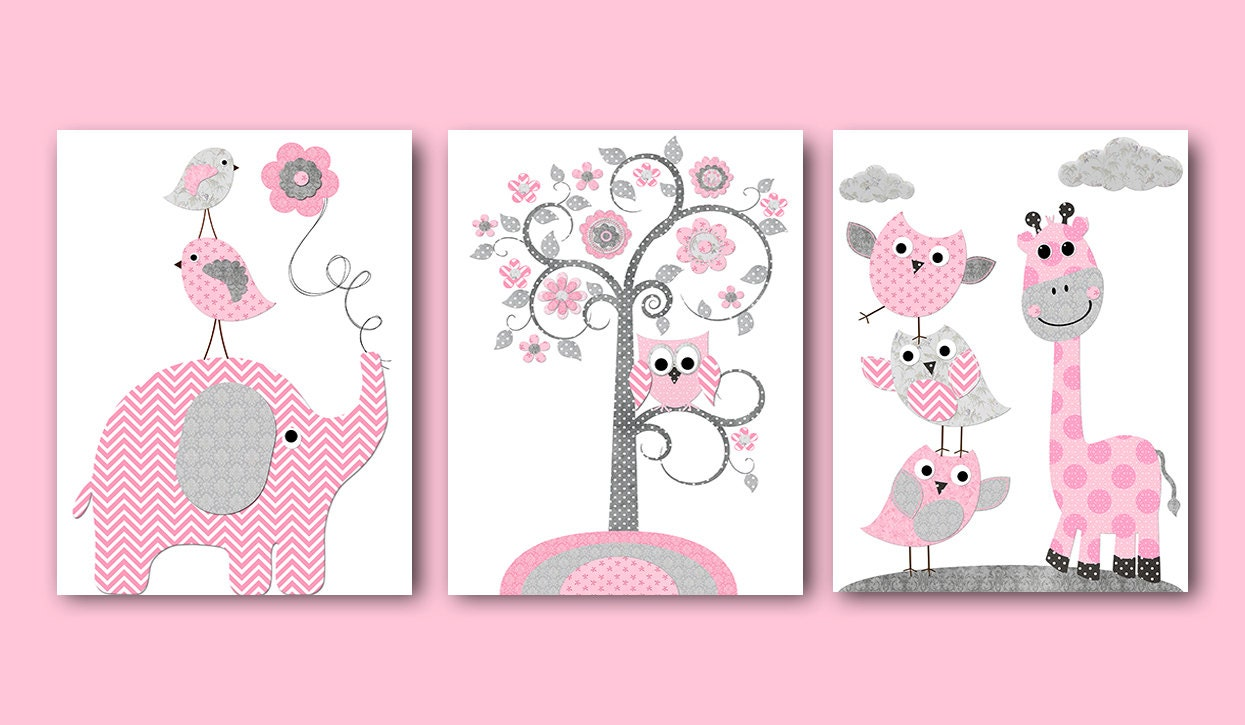 Pink gray baby shower decor elephant giraffe nursery decor for Baby shower room decoration