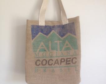 Farmers Market Bag / Upcycled Burlap Tote / Large Tote Bag / Coffee Bean Bag